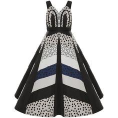 DELPOZO Dot Print Silk Organza A-Line Dress ($6,500) ❤ liked on Polyvore featuring dresses, skater skirt, white sweetheart dress, white skater skirt, flared skirt and white circle skirt