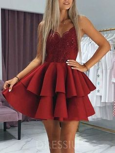 Buy Cute Burgundy V Neck Spaghetti Straps Above Knee Short Homecoming Dresses online.Shop short long ombre prom, homecoming, bridesmaid evening dresses at Couture Candy Cocktail party dresses, formal ball gowns in ombre colors. Lace Homecoming Dresses, Hoco Dresses, Pretty Dresses, Sexy Dresses, Evening Dresses, Elegant Dresses, Casual Dresses, Summer Dresses, Wedding Dresses