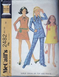 McCall's 2482 - Young girls' dress, top and pants vintage sewing pattern.  Pattern is cut and complete.