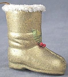 Vintage Gold Boot Christmas Ornament. Click on the image for more information.
