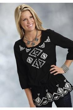 Roper+Cotton+Gauze+Tunic+With+Embroidery+Studio+West-+Fashion+Tribe+Long+Sleeve+Urban+