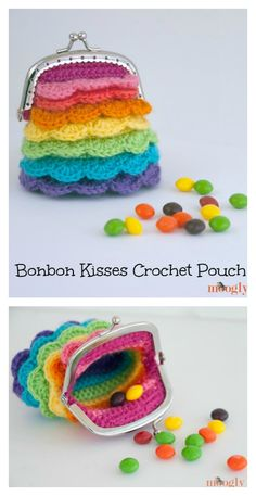 Crochet Purses Design Bonbon Kisses Crochet Pouch / Coin Purse Free Pattern - Coins could be very helpful in certain situations. Here are some Crocheted Coin Purse Free Patterns to help make special and beautiful purses to keep coins. Crochet Coin Purse, Crochet Purse Patterns, Crochet Pouch, Crochet Purses, Crochet Handbags, Easy Crochet Projects, Crochet Crafts, Crochet Yarn, Free Crochet