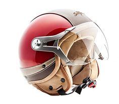 SOXON SP-325 Urban red - Jet Vespa Scooter Motorcycle Moto Helmet Pilot Leather Urban -$150
