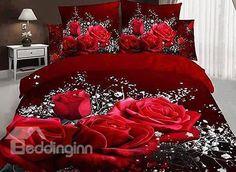 Big Rose and White Floral Print 3D Duvet Cover Sets from @Beddinginn #bedding #bedroom #beddinginn review