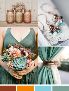 copper brown and green vintage fall wedding color ideas