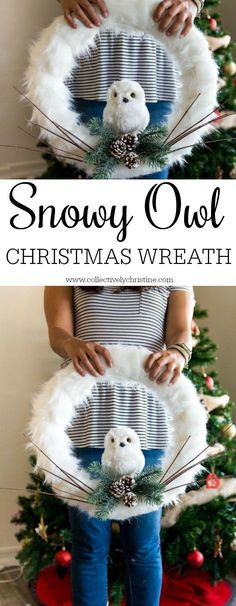 Easy to make snowy owl Christmas wreath tutorial. Add this beautiful wreath to your door or a wall that you want to decorate for the holidays!
