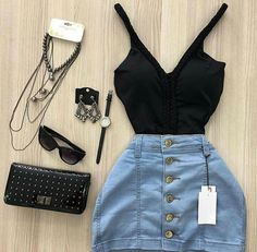 O q mudaria nesse look? Teen Fashion Outfits, Cute Casual Outfits, Mode Outfits, Skirt Outfits, Outfits For Teens, Stylish Outfits, Girl Fashion, Summer Outfits, Womens Fashion