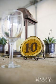 wood discs for table numbers