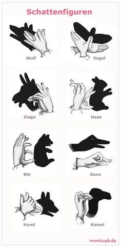 Handschatten - Tierformen Vorlage