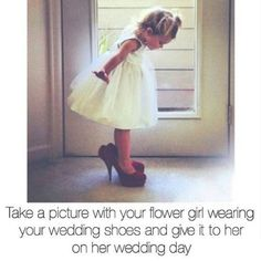 Wedding Poses Flower girls like to dress up. Cute idea for your wedding day, and to remember down the road Cute Wedding Ideas, Wedding Goals, Wedding Pictures, Perfect Wedding, Our Wedding, Dream Wedding, Wedding Inspiration, Wedding Stuff, Trendy Wedding