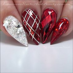 Black christmas Nails | Luminous Nails: Christmas Nails... Red & Silver Christmas ...