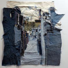 May 2014 - Blue jeans urban ladscapes. See more ideas about Denim art, Textile fiber art and Textile art. India Flint, Embroidery Designs, Embroidery Art, Textile Fiber Art, Textile Artists, Textile Fabrics, Shibori, Denim Kunst, Denim Art
