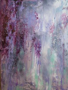 "Annie Flynn. Impromptu Wisteria in Deep Violet | 18"" x 24"" Abstract Oil Painting on Stretched Canvas"