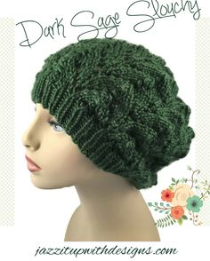 Sage green Hat Ladies Lacy hand knit caron simply soft yarn - #Handmade by @JazzitupwithDes - #cpromo