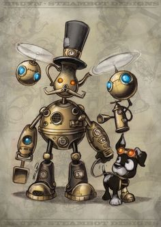 A continually updated gallery of images of little Steam powered robot designs with my stylistic take on the Steampunk genre. Robots Steampunk, Art Steampunk, Steampunk Images, Arte Robot, Robot Art, Robots Drawing, Art Drawings, Steampunk Illustration, Illustration Art