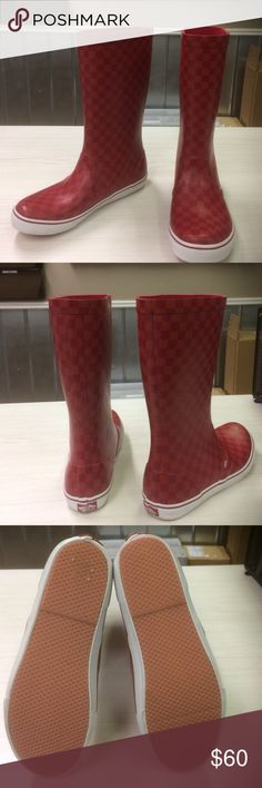 Vans red waterfall Rainboots There's nothing cooler than a pair of Vans.  Classic checkered print in a hot red on red color.   Only worn once.  And in excellent condition.  Fun to wear no matter the weather.  Men size 10 fit ladies size 11 Vans Shoes Winter & Rain Boots