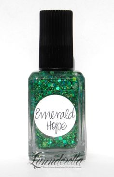 Emerald Hope (May) is a green multiglitter in a clear base. Very complex.