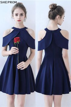 57cbd8d717f7 Discount Simple Navy Blue Short Homecoming Party Dress with Cold Shoulder  #BLS86072 at SheProm.
