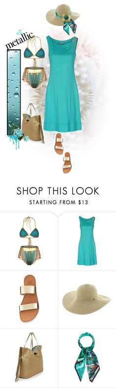 """""""You're Golden: Metallic Swimwear..."""" by dadanana101 ❤ liked on Polyvore featuring VDP, Roxy, Eric Javits and Kelly Wearstler"""