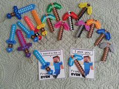 Minecraft valetines, perler bead swords and axes, zipper pulls