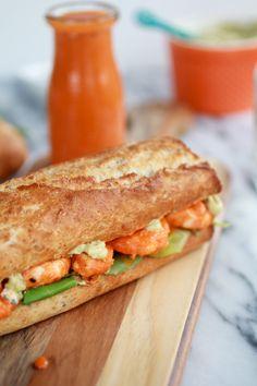 Grilled Buffalo Shrimp Sandwiches.