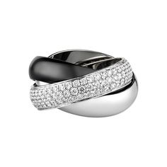 TRINITY BLACK AND WHITE RING, LARGE MODEL 18K white gold ring with one band paved with 129 diamonds, one white gold band and one black ceramic band. Large model. Band width: 5.4mm.