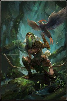 female ranger elf bird falcon forest dynamic