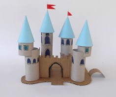 brinquedos rolos de papel castelo