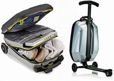 Samsonite Trolley Luggage Features A Built-in Scooter | Great way to get around the airport