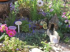 More Fairy Gardens! I've got to make a fairy House! Use your imagination. Candle holders for bird baths, Marbles for glass ball globes. I even made my own trellis out of wire! Alot of fun!