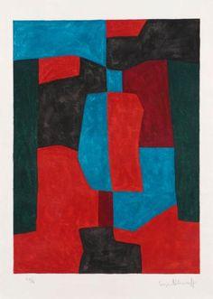 Serge POLIAKOFF (1900-1969) Composition en rouge, vert et bleu, 1969 Lithograp