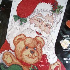 e69726ad6b7 SANTA   TEDDY Cross Stitch Stocking kit sealed Bucilla Christmas 1995   Bucilla