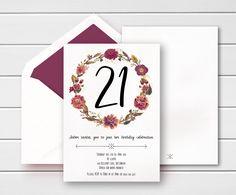 Vintage 21st invites, Floral 21st Birthday invites, Vintage Birthday Invites, Vintage Flower invites, Vintage 21st Birthday Invitations by PennyLaneStationery on Etsy