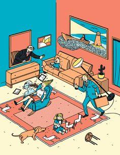 Nostalgia and modern life go hand in hand in the work of illustrator Janne Livonen.