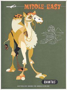 Vintage Travel Poster - Middle East - Camel - 1950s - (Qantas).