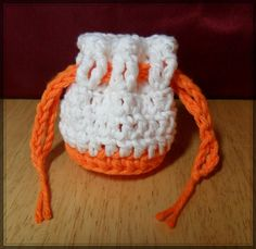 Cotton Coin Purse  White & Orange  Money Dice by LilacsLovables, $3.50