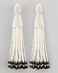 White tassel bead earrings