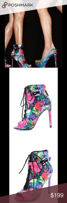 """💕b BRIAN ATWOOD linford floral satin laced bootie sexy floral satin open-toe booties, dark suede laces with mini """"screw"""" hardware detail on the aglet, brushed pewter tone hardware on the buckled strap adds a flash at the ankle 💕 exposed rear zip closure with signature B suede zipper pull, printed FLORAL satin including the toe! Printed FLORAL leather sole, too! Leather lining, 4.5"""" heel with box, duster + extra heel taps 💕 condition: excellent pre-owned condition 💕(stock photos shown)…"""