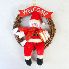 1x Rattan Garland Christmas Snowman Hanging Ornaments Xmas Party Decoration #Chenxicraft