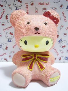 HELLO KITTY Pink Bear Figure Doll Toy Sanrio 2002 *SOLD OUT!*
