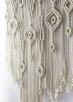 LARGE Macrame wall hanging. Great as over bed decor or as a living room decor. color of natural cotton Size: wooden stick: 100 cm (39,4'') length of woven – from top of wood to bottom of fringe: 109 cm (42,9'') 100% handmade 100% natural cotton cord We ship WORLDWIDE! Shipping to Europe