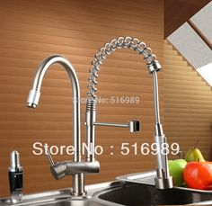 84.72$  Buy here - http://ali3dt.worldwells.pw/go.php?t=1661152117 - Free shipping Sink Vessel Solid Brass With Two Spout Tap Brushed Nickel Kitchen Faucet DS8525-7 84.72$
