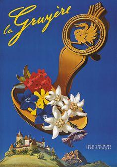 Vintage Travel Poster - La Gruyère - Switzerland - by Martin Peikert.