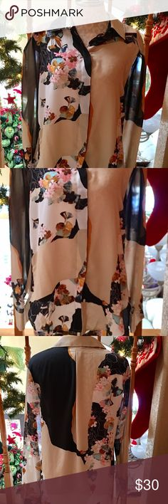Phillip Lim Blouse for Target A very lightweight semi sheer fabric in multicolor contrasting floral print in black,cream  & pink colors. Gorgeous! NWOT 3.1 Phillip Lim for Target Tops Blouses