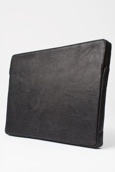 Wood Laptop Bag In Black Leather