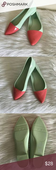 Super Cute Pointed Toe Mint Green & Coral Flats The shoes are a mint green with a coral top. They are made of a synthetic material that has a shiny gloss. Cape Robbin Shoes Flats & Loafers