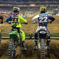 Josh Grant and Chad Reed on the line at Detroit SX Mx Racing, Dirt Bike Racing, Motocross Bikes, Cycling Bikes, Mx Bikes, Monster Energy Supercross, Kids Atv, Kids Bicycle, Bike Wheel