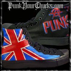 British Flag Custom Converse Sneakers, $249.00