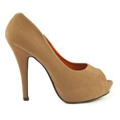 Pantofi Peep-Toe Mocha