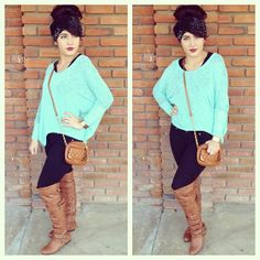 Long brown boots with black leggings